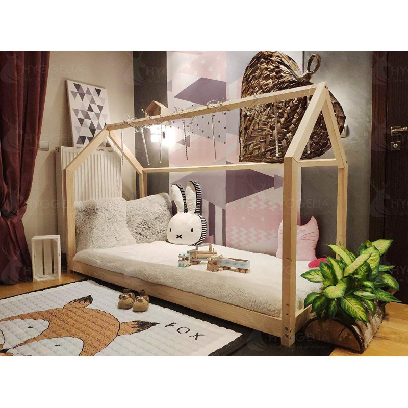 House bed wooden Bonnie without barriers, bed for children, Bedroom  furniture, cottage bed for teenagers